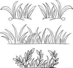 Drawn grass Draw & Landmarks Step Black