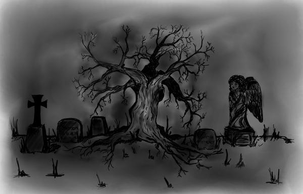 Drawn graveyard cemetery Forsakened Drawing DeviantArt At Drawing