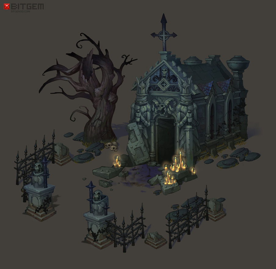 Drawn graveyard concept art By Concept Cemetery  on