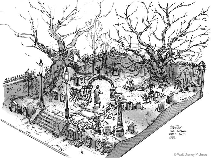 Drawn graveyard concept art On images concept Cemetery 83