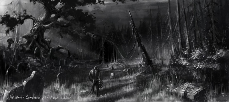 Drawn graveyard concept art Concept Evil Hellboy: Neoseeker