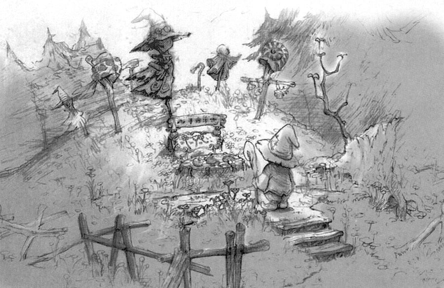 Drawn graveyard concept art Final Artwork Wiki Black jpg