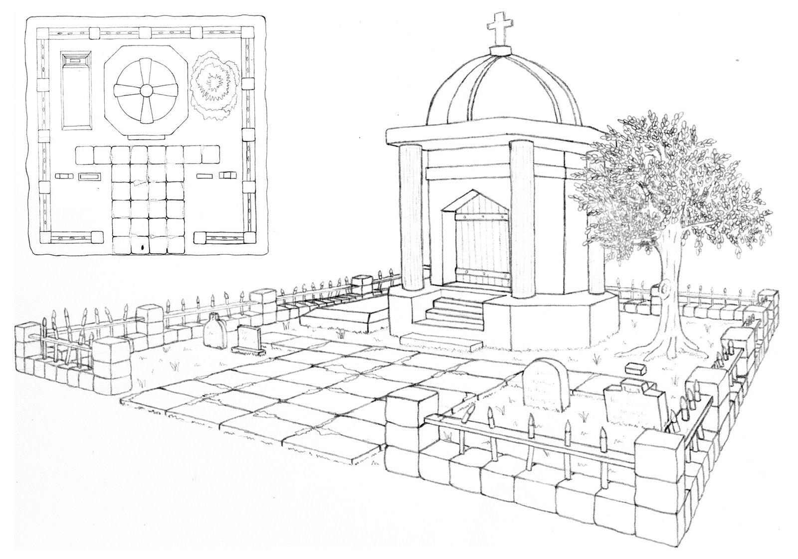 Drawn graveyard crypt Concept by Crypt Graveyard hursty23