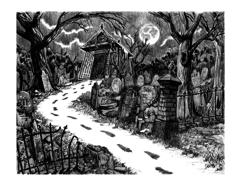 Drawn graveyard crypt Path Richards 7 inch by