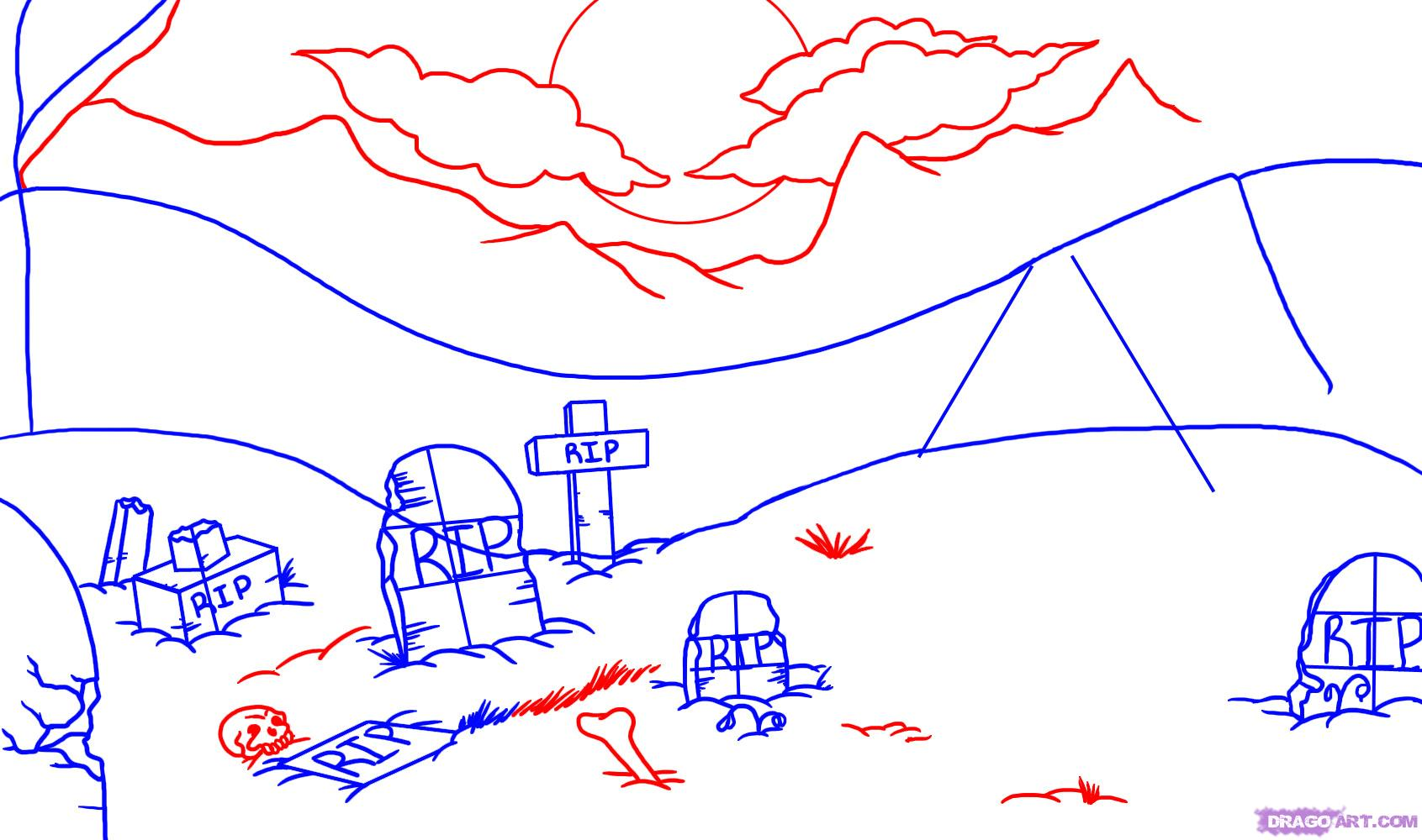 Drawn haunted house hounted 3  Draw graveyard Step