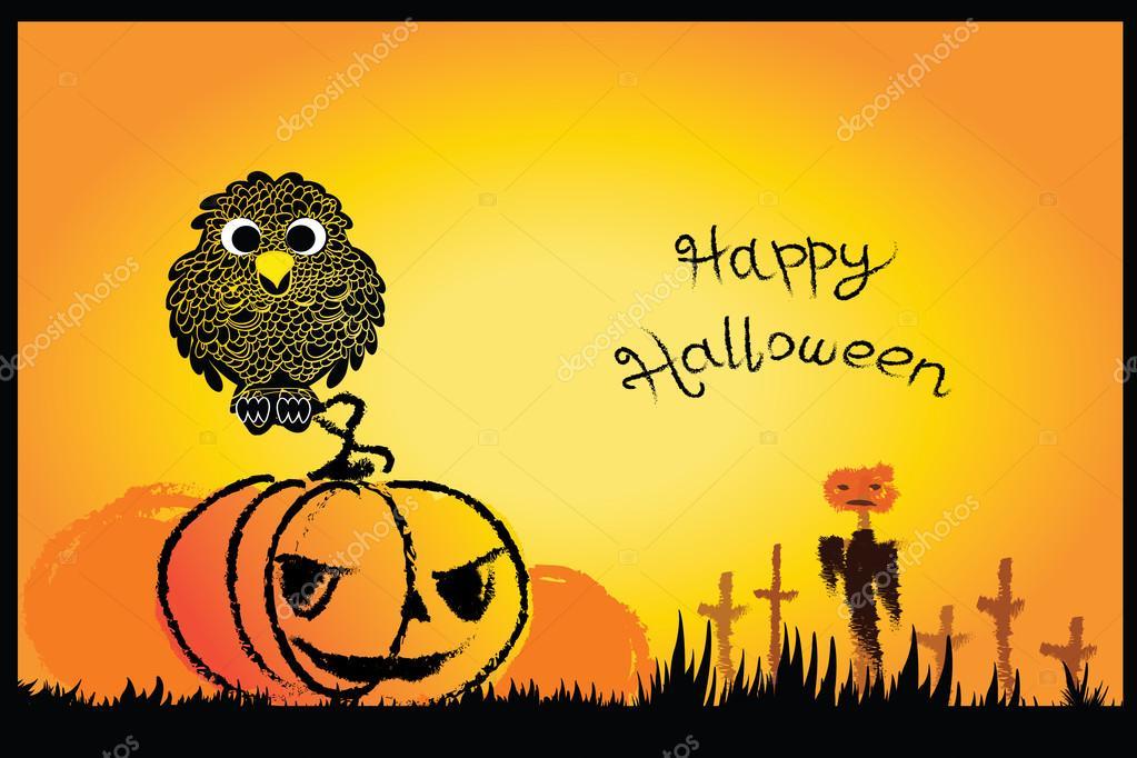 Drawn graveyard halloween Background paint vector drawn card
