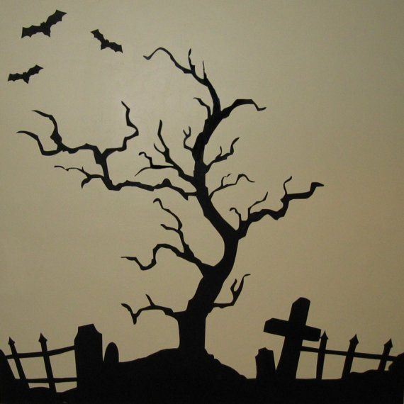 Drawn graveyard halloween Silhouettes images Pinterest Tree about