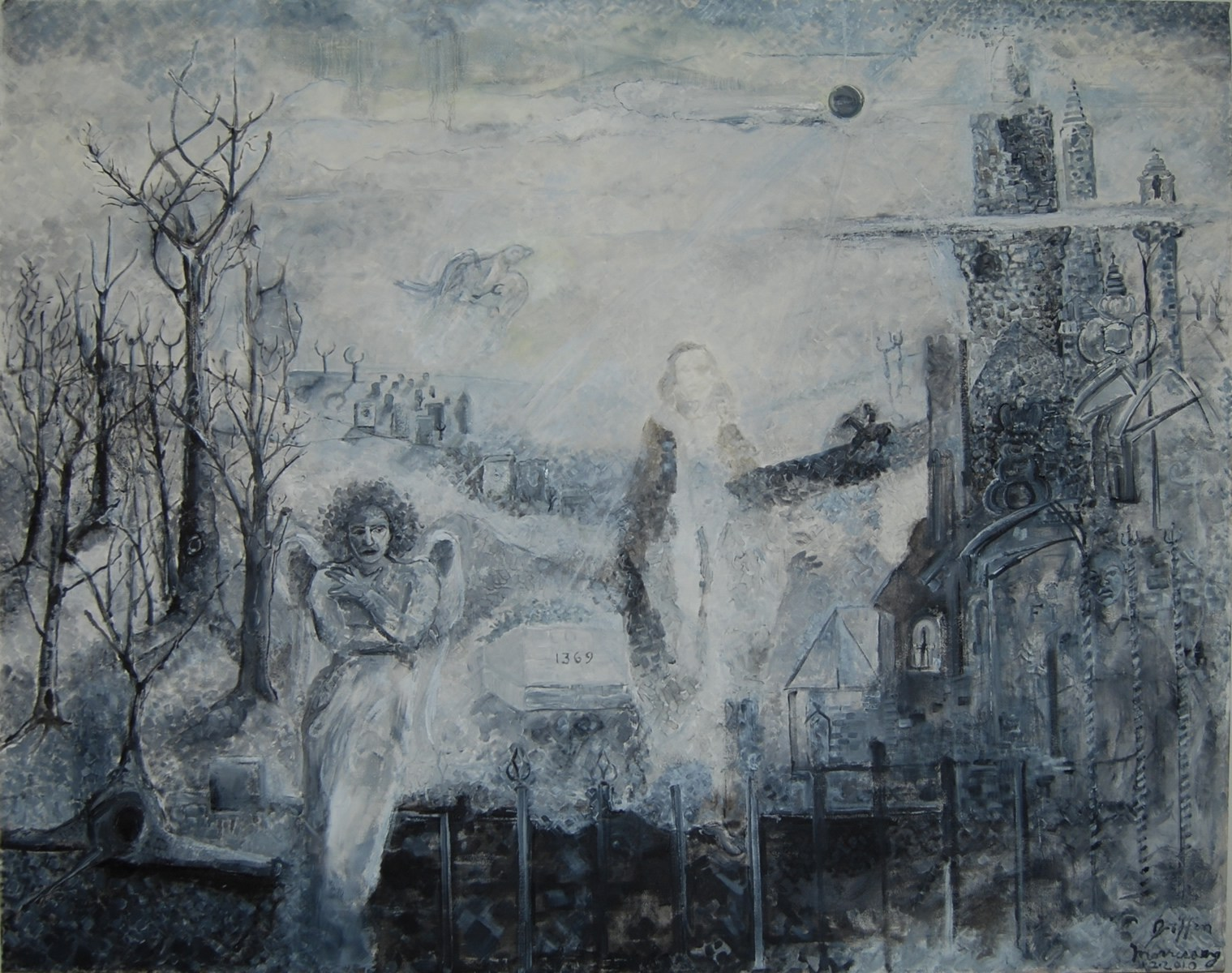 Drawn graveyard painting Griffin by he Paintings Greek