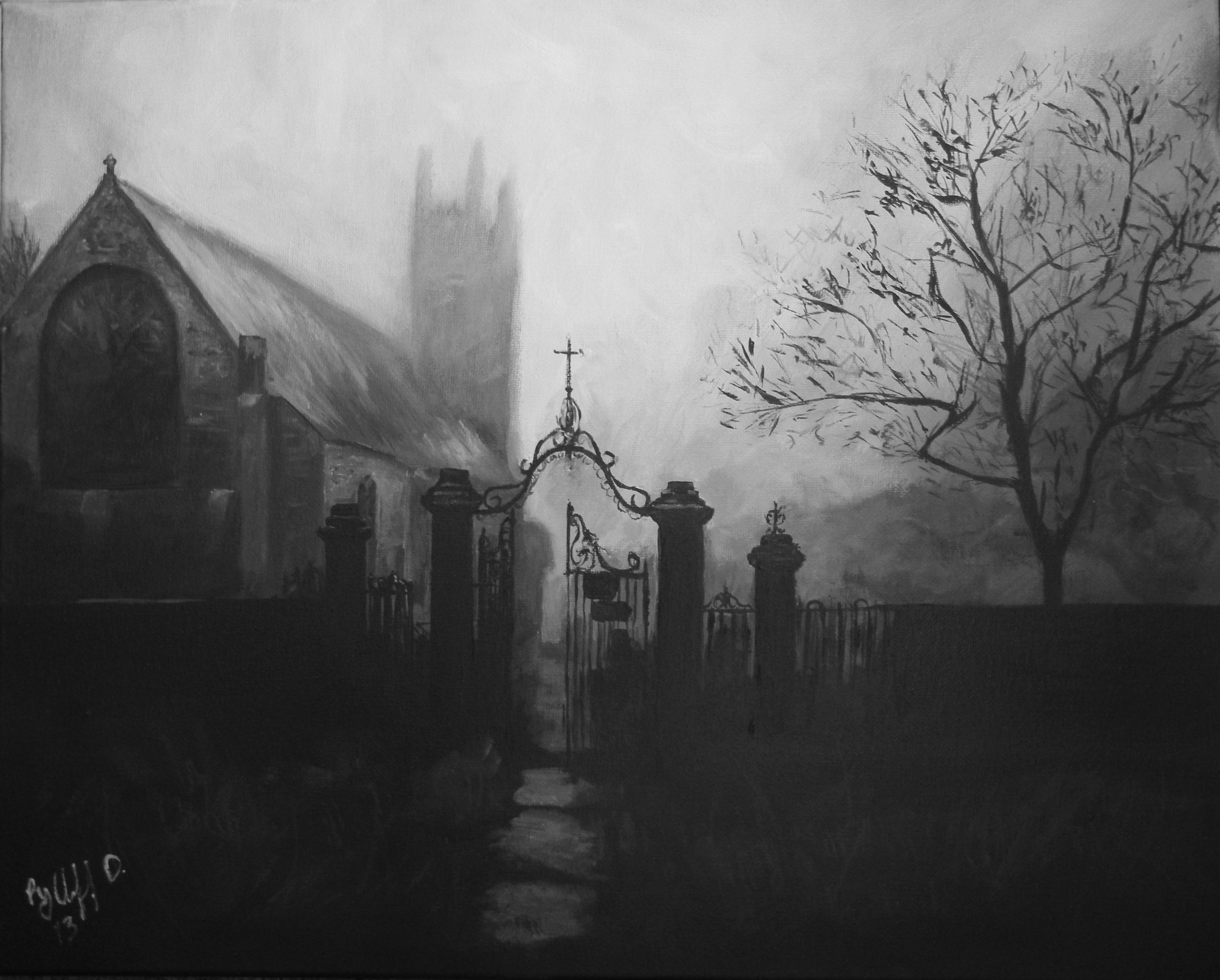 Drawn graveyard painting  To of Stories painting