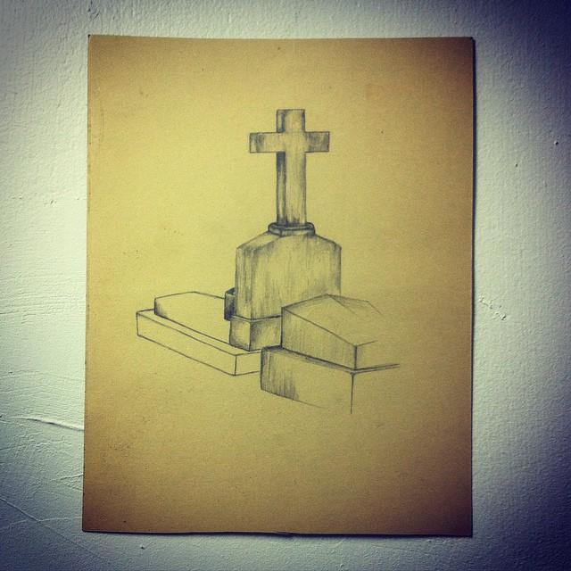 Drawn graveyard pencil drawing #paper #artist graveyard #sketch #sketching