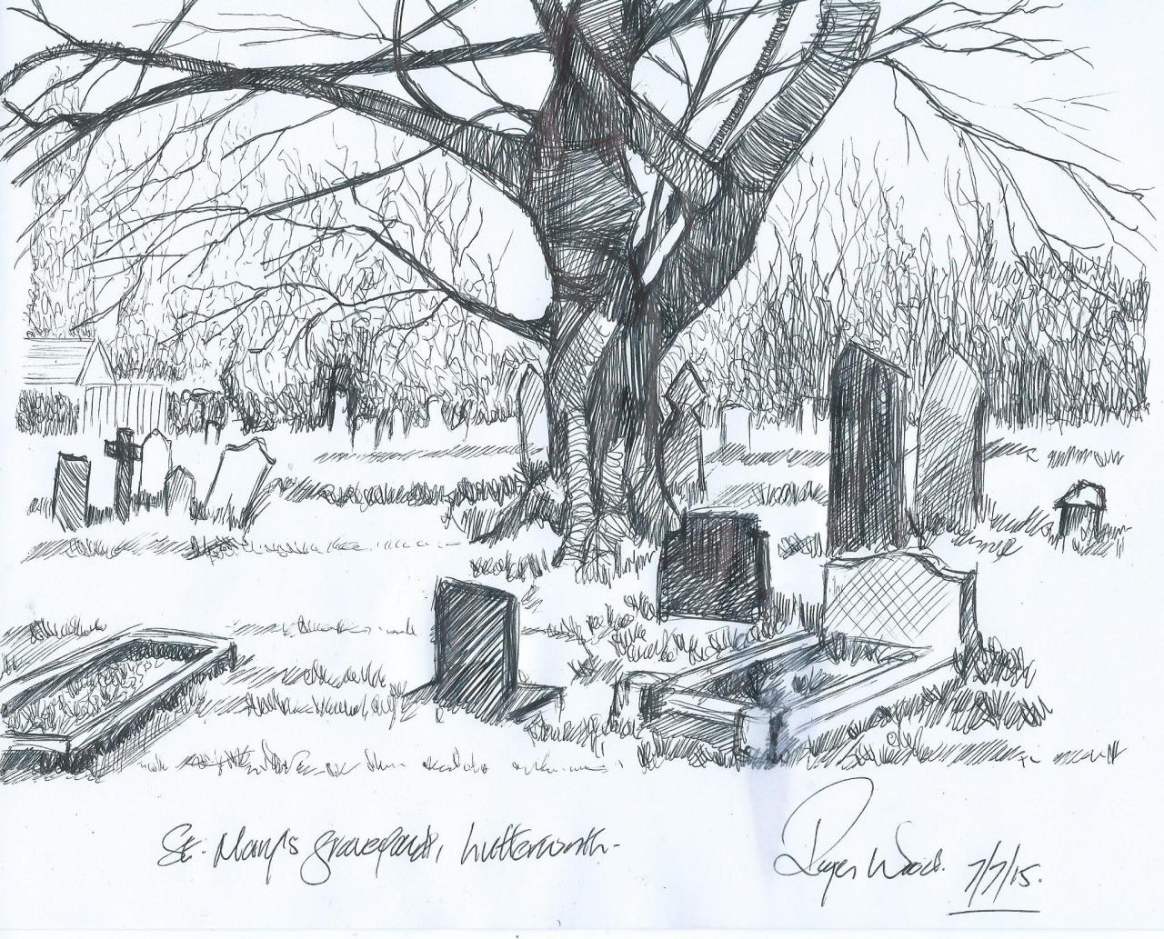 Drawn graveyard pencil drawing Realistic High Drawing Graveyard Drawing