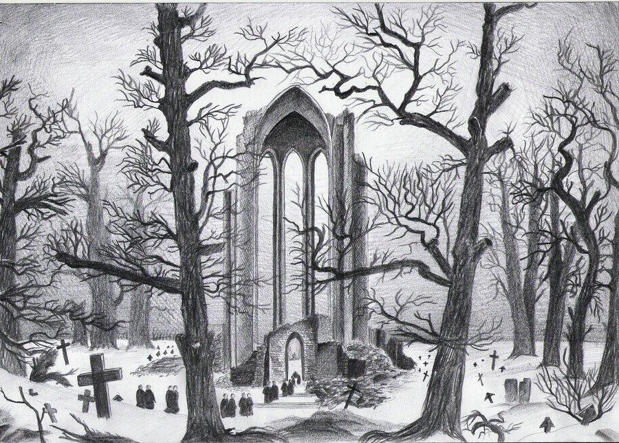 Drawn graveyard pencil drawing Graveyard graveyard Graveyard snow the