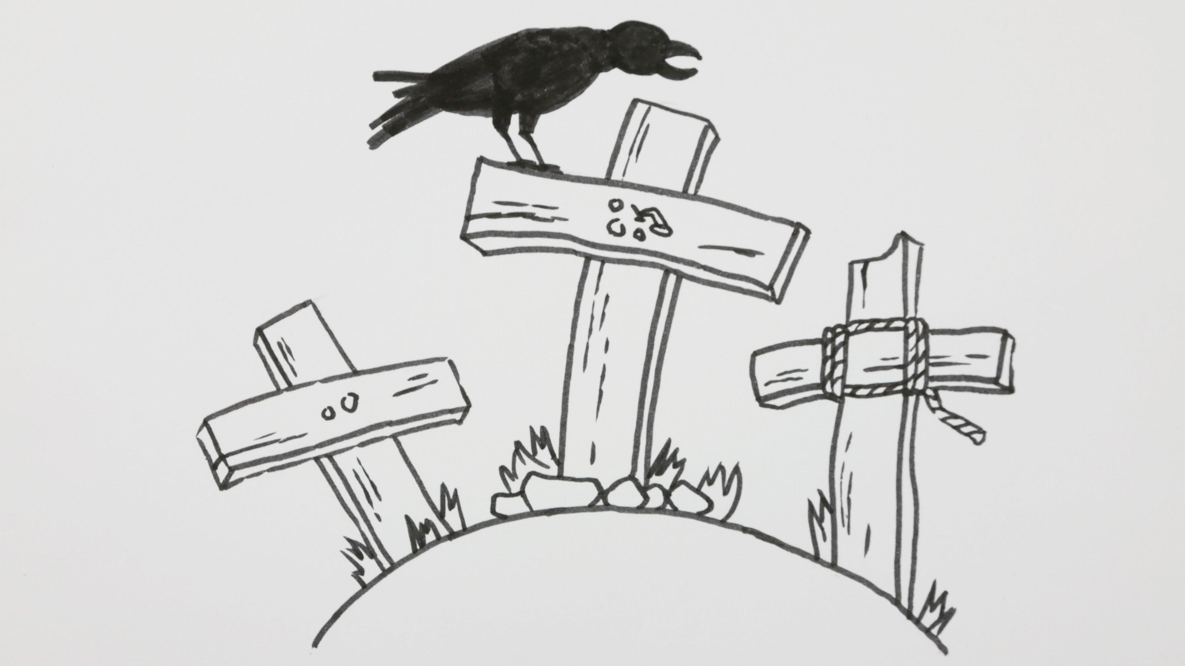 Drawn graveyard pencil drawing Comic Graveyard a to