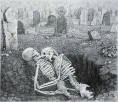 Drawn graveyard pencil drawing On Lipton this de Art