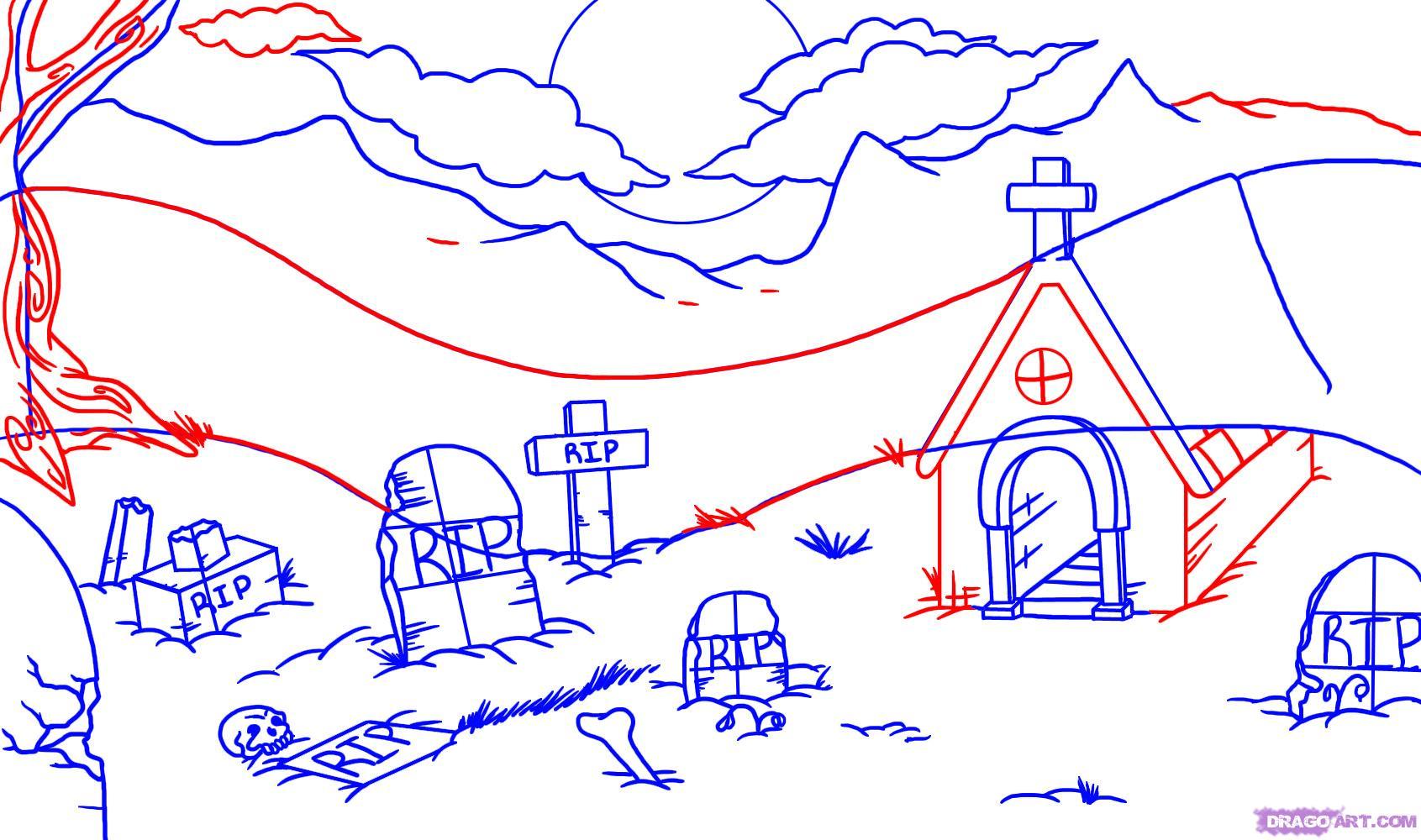 Drawn graveyard pencil drawing Step Halloween to to Seasonal