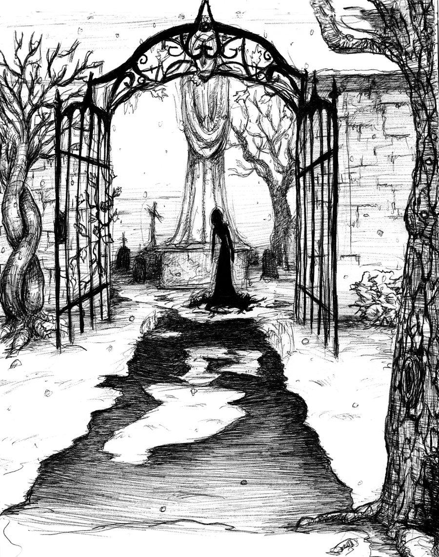 Drawn graveyard pencil drawing Com @deviantART Sketch Graveyard
