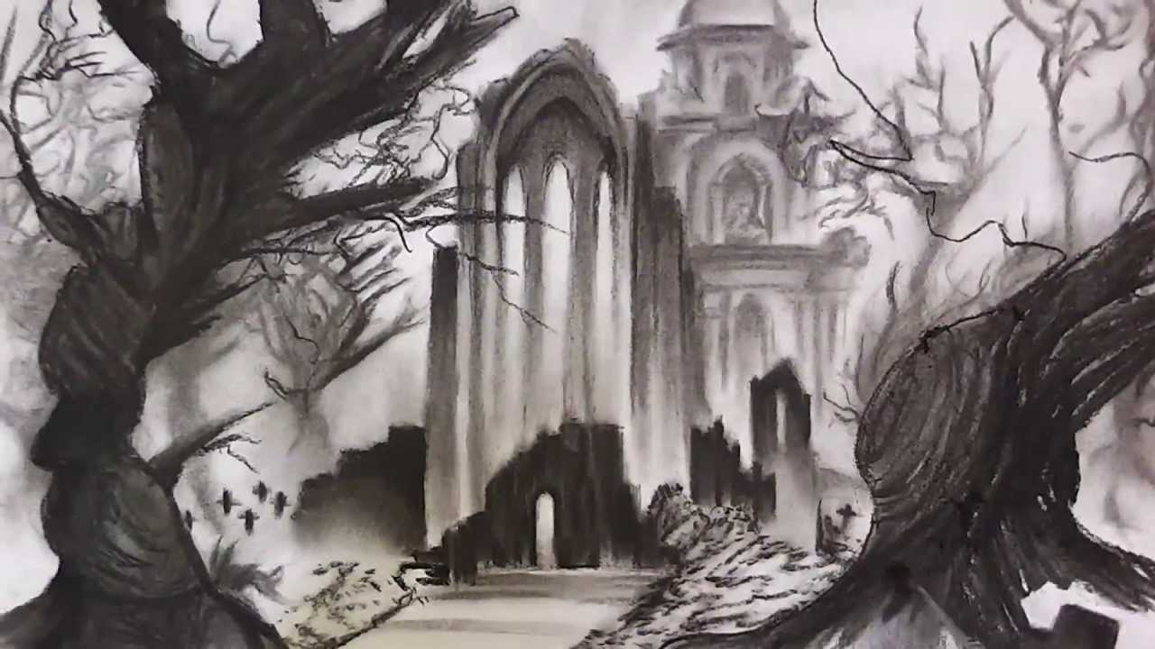 Drawn graveyard pencil drawing DRAWING GRIM SPEED (CEMETERY) LANDSCAPE