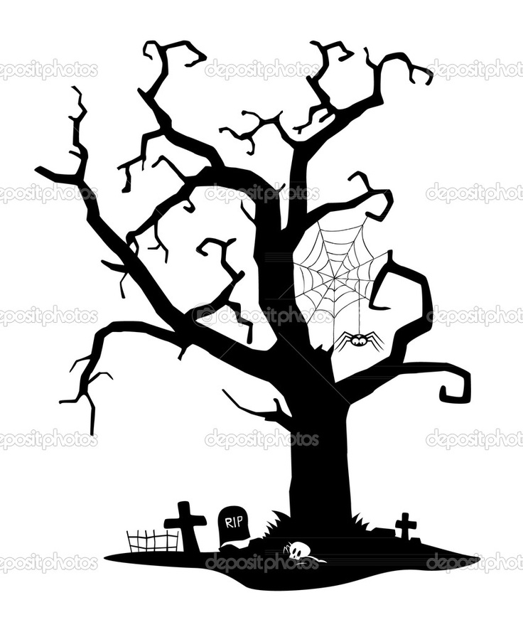 Drawn graveyard silhouette Jpg Halloween images on tree