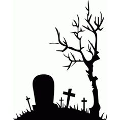 Drawn graveyard silhouette : silhouettes Search halloween Designs