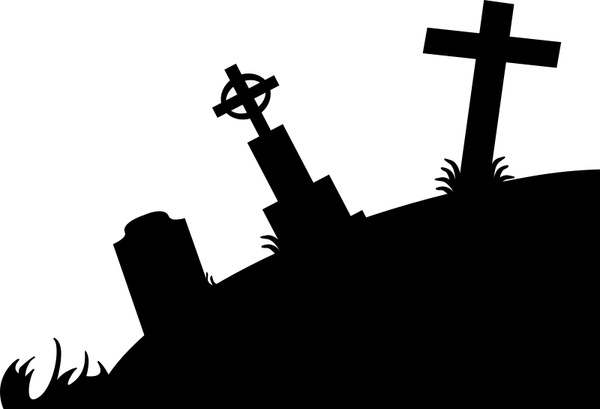 Drawn graveyard silhouette Vector drawing ( svg Free