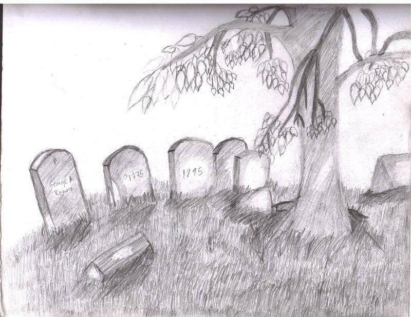 Drawn graveyard sketch Graveyard sketch on DizzyHellfire sketch