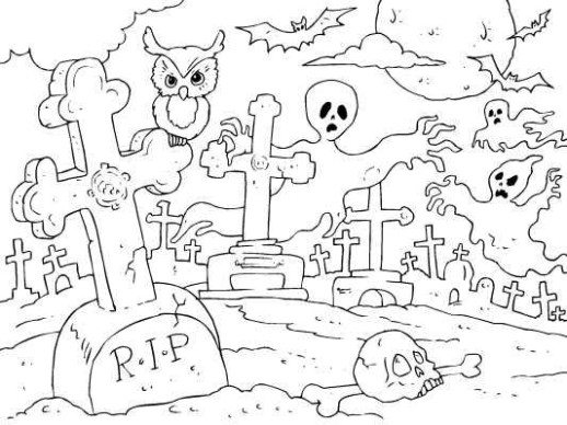 Drawn graveyard spooky graveyard Halloween Pages : Pages Spooky