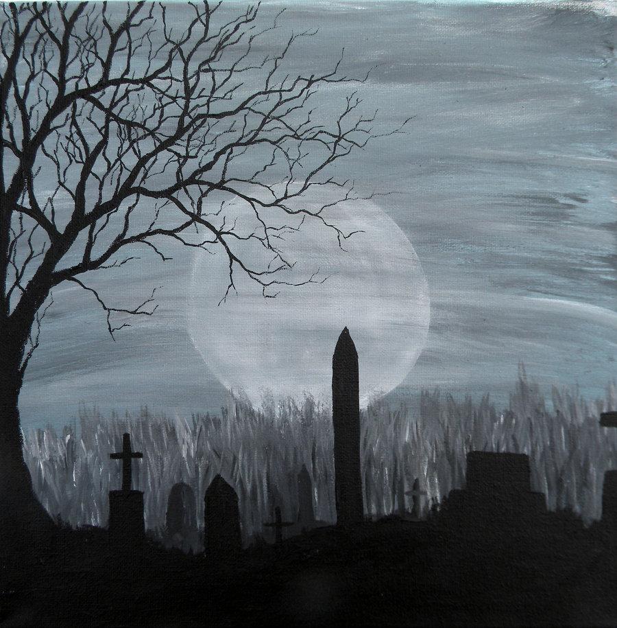 Drawn graveyard spooky graveyard Wallpaper on Haunted Graveyard Cemetery