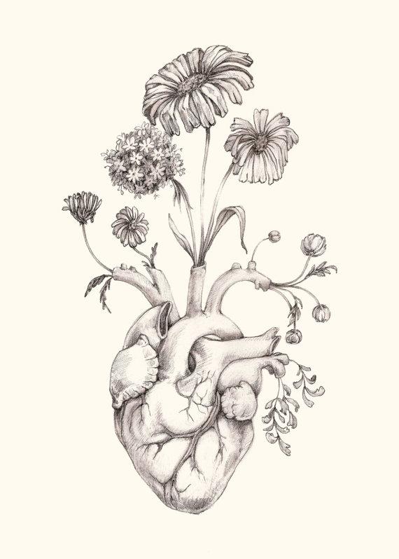 Drawn triipy heart PRINT of 8x10