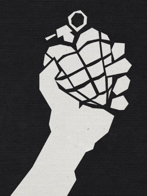 Drawn grenade black and white Art White on Works best