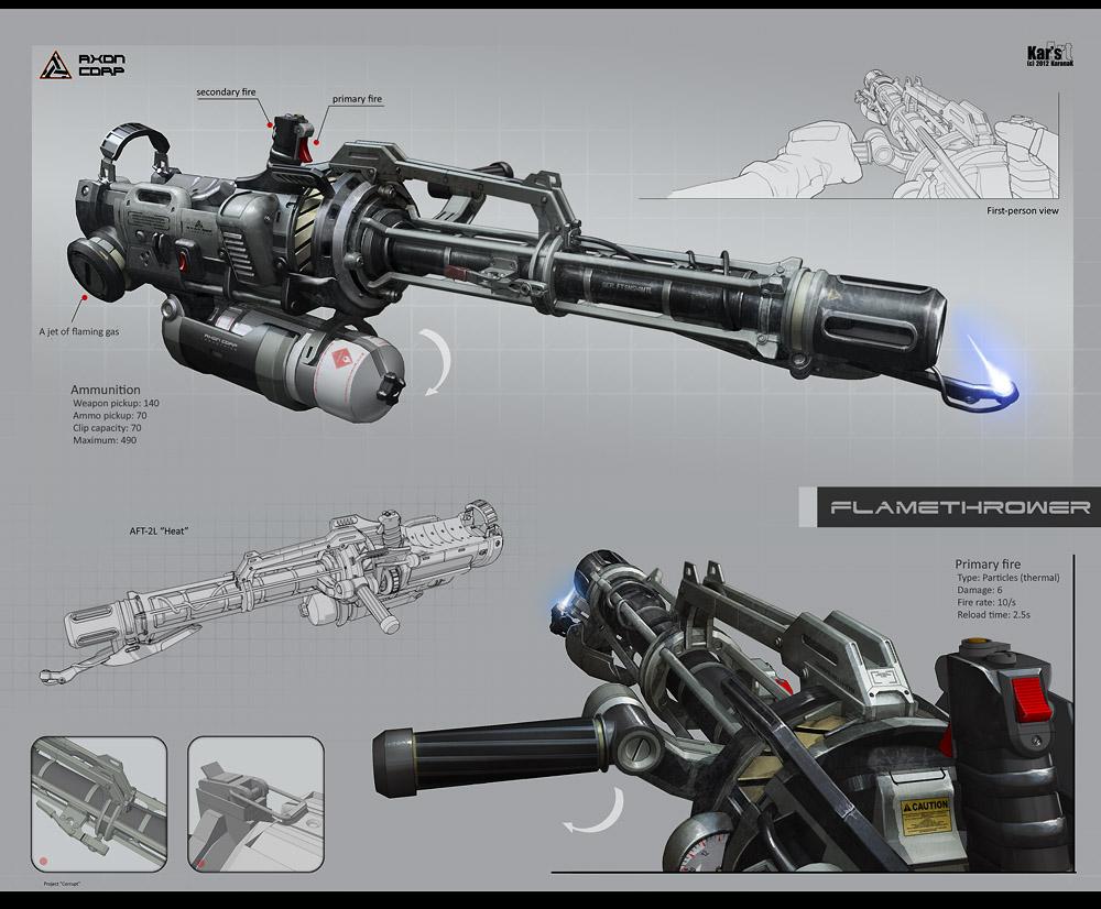 Drawn shotgun weapon 2L Flamethrower Flamethrower on Heat