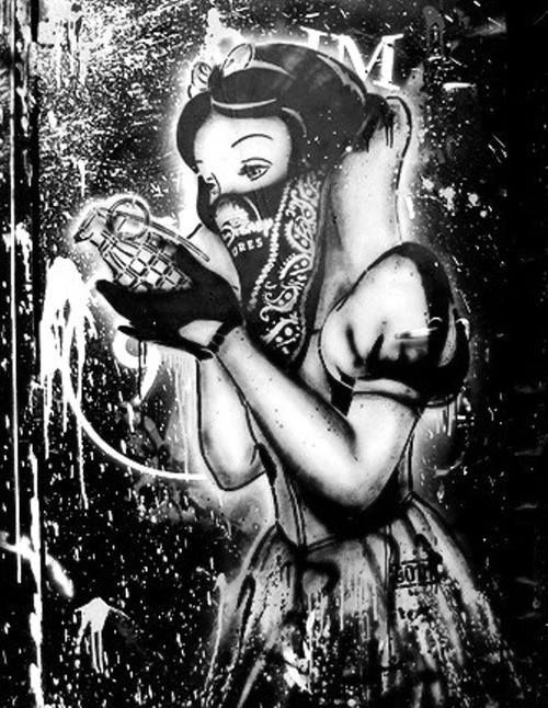 Drawn grenade graffiti Black Street Snow White and