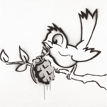 Drawn grenade graffiti Banksy banksy bird Birds