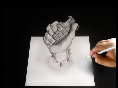 Drawn grenade hand grenade A a Speed Drawnig 3D