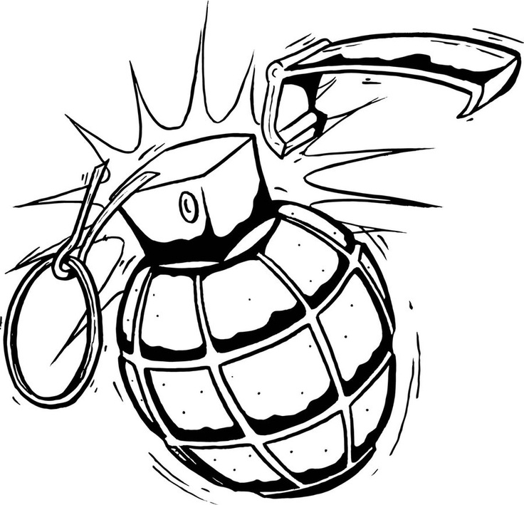 Drawn smokey vector The Search tattoo hand Grenade