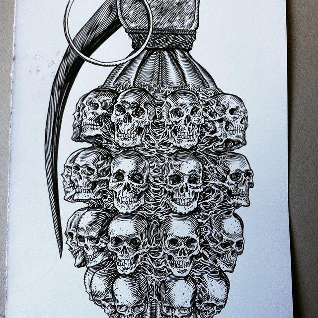 Drawn grenade military #skulls #illustration ideas on Grenade