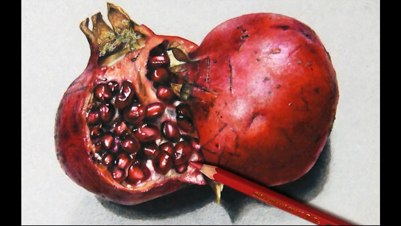 Drawn still life hyper realistic A Hyperrealistic YouTube Pomegranate How