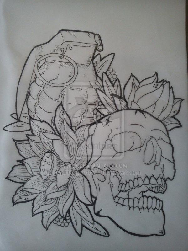 Drawn grenade skull … Pinteres… Skull Skull idea