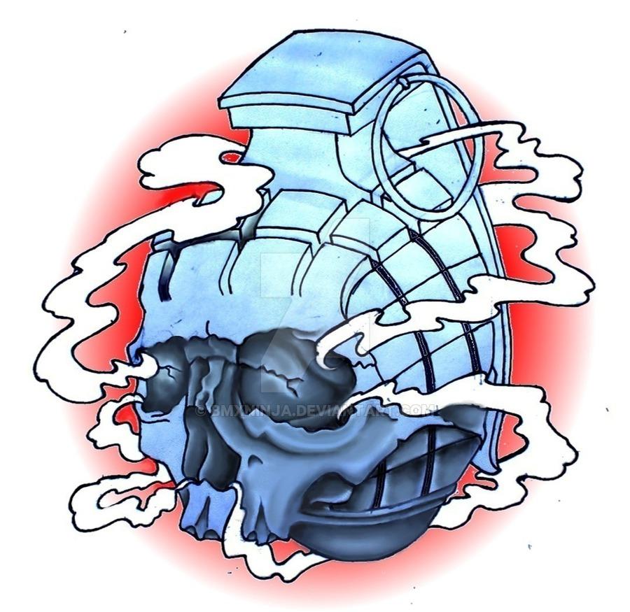 Drawn grenade skull T design on BMXNINJA shirt