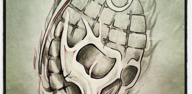Drawn grenade skull Pinterest 잉크 들 팬 #grenade