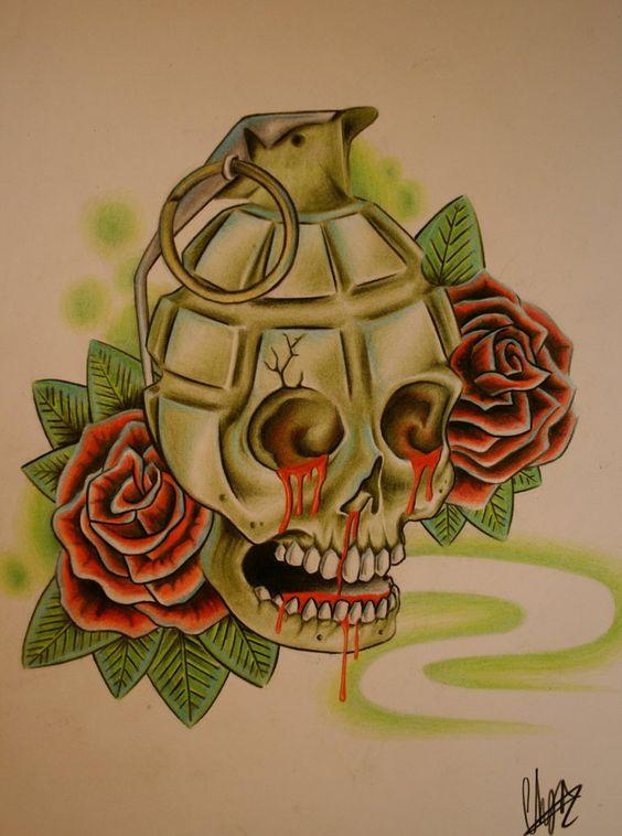 Drawn grenade skull And on Skulls on Grenade