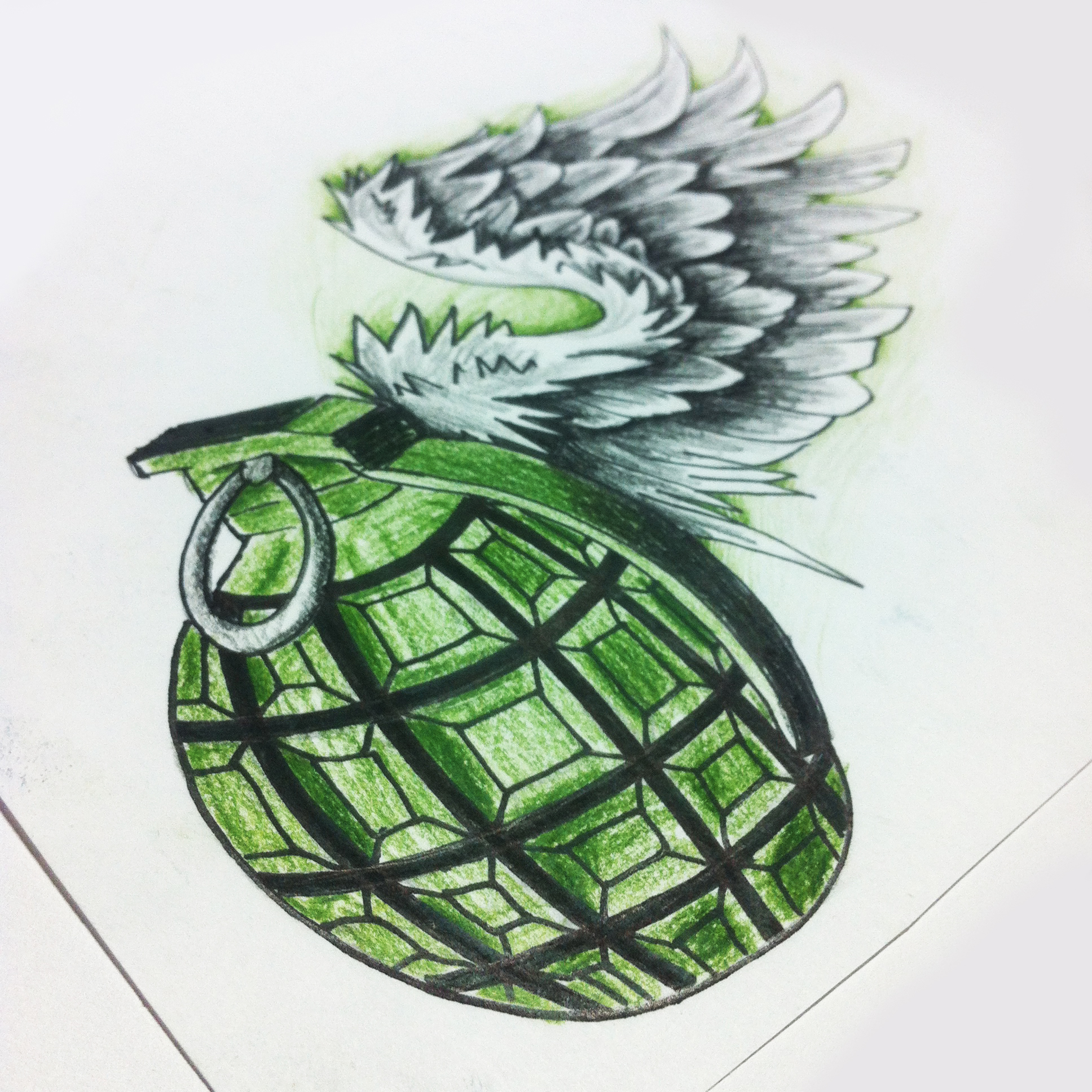 Drawn grenade wing New tattoo sketches grenade tattoo