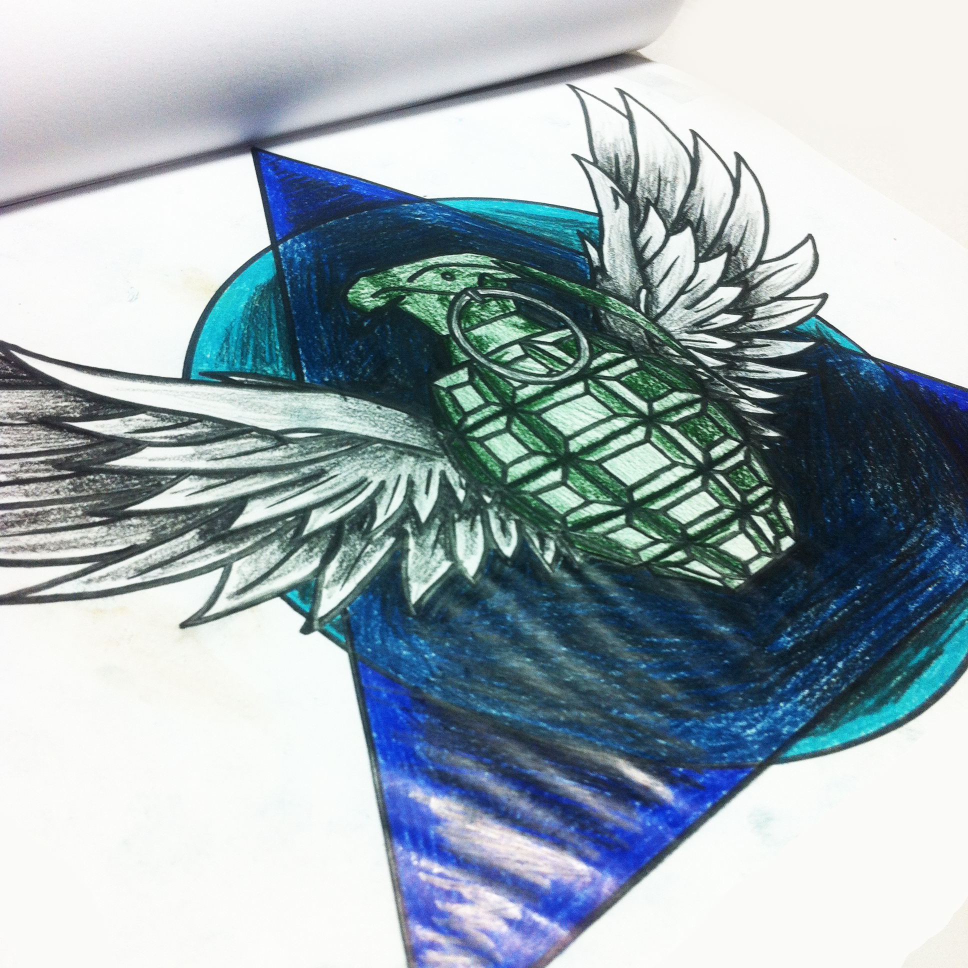 Drawn grenade wing Tattoo new sketches triangle new