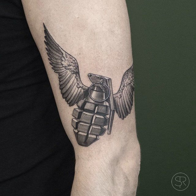Drawn grenade wing With flying tattoo Pinterest flying