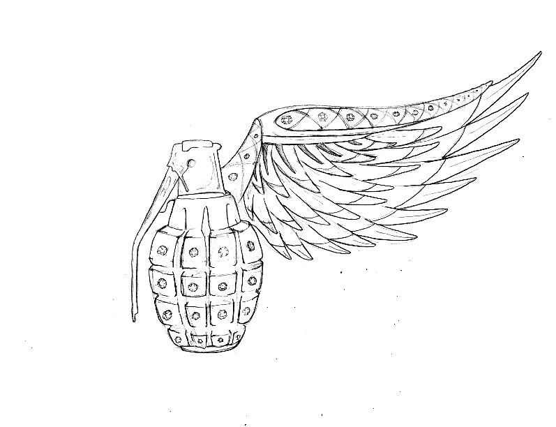 Drawn grenade wing Faberge by 28 on traditional