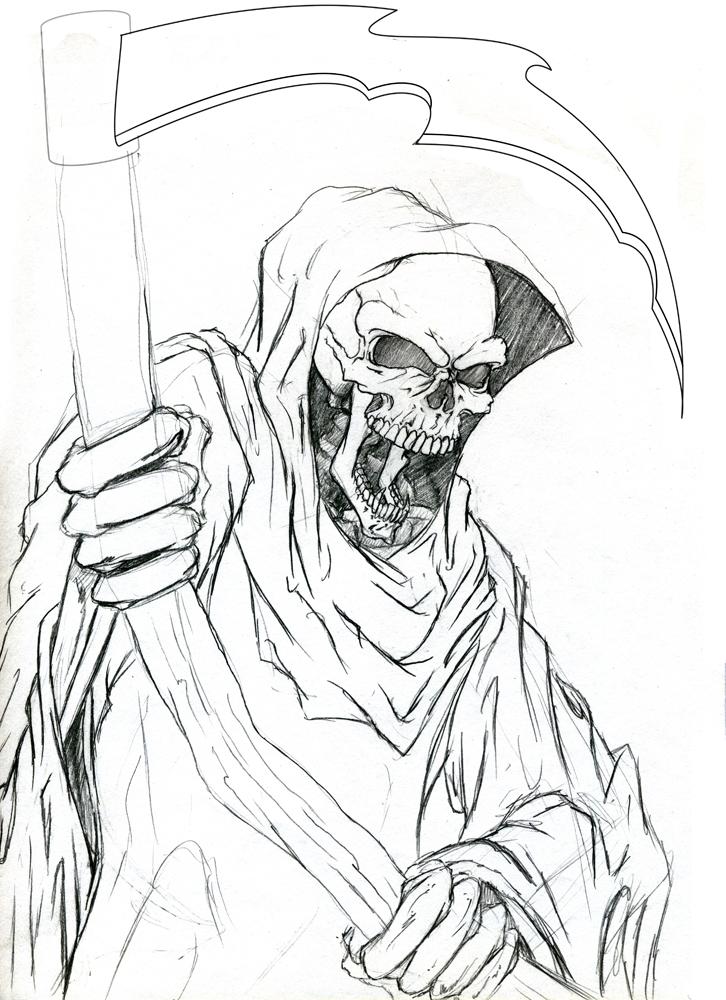 Drawn grim reaper Grim Reaper Realistic Drawing Reaper