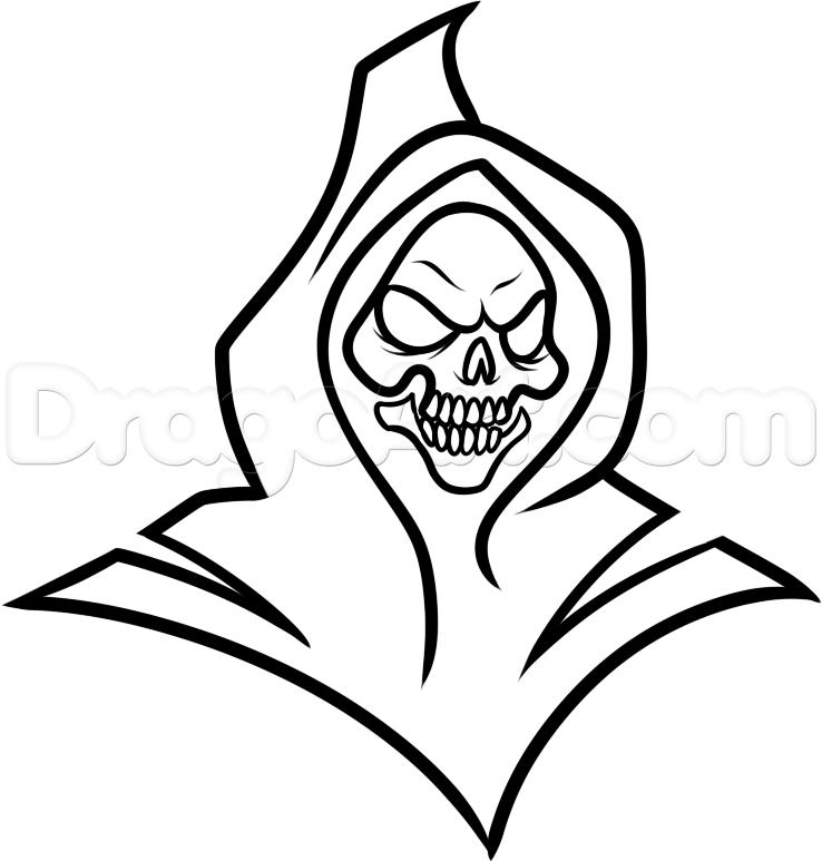 Drawn grim reaper halloween  Step Tribal Tribal reaper