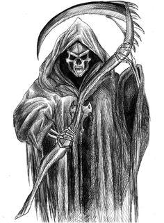 Drawn grim reaper Scary Halloween in horror reaper