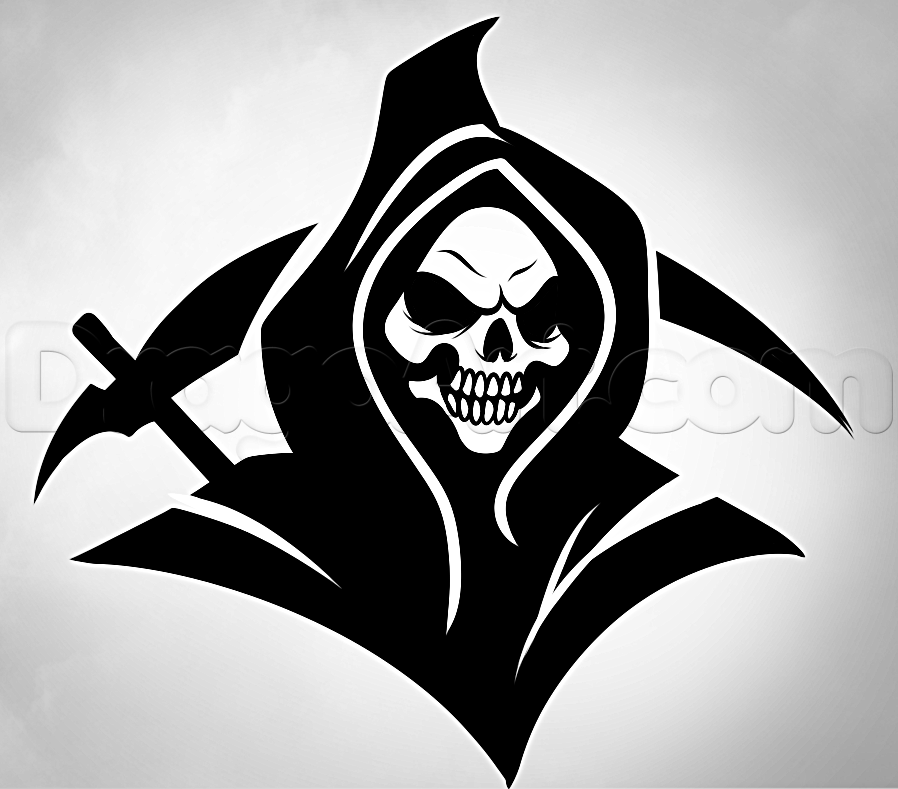 Drawn grim reaper How  Step Grim grim