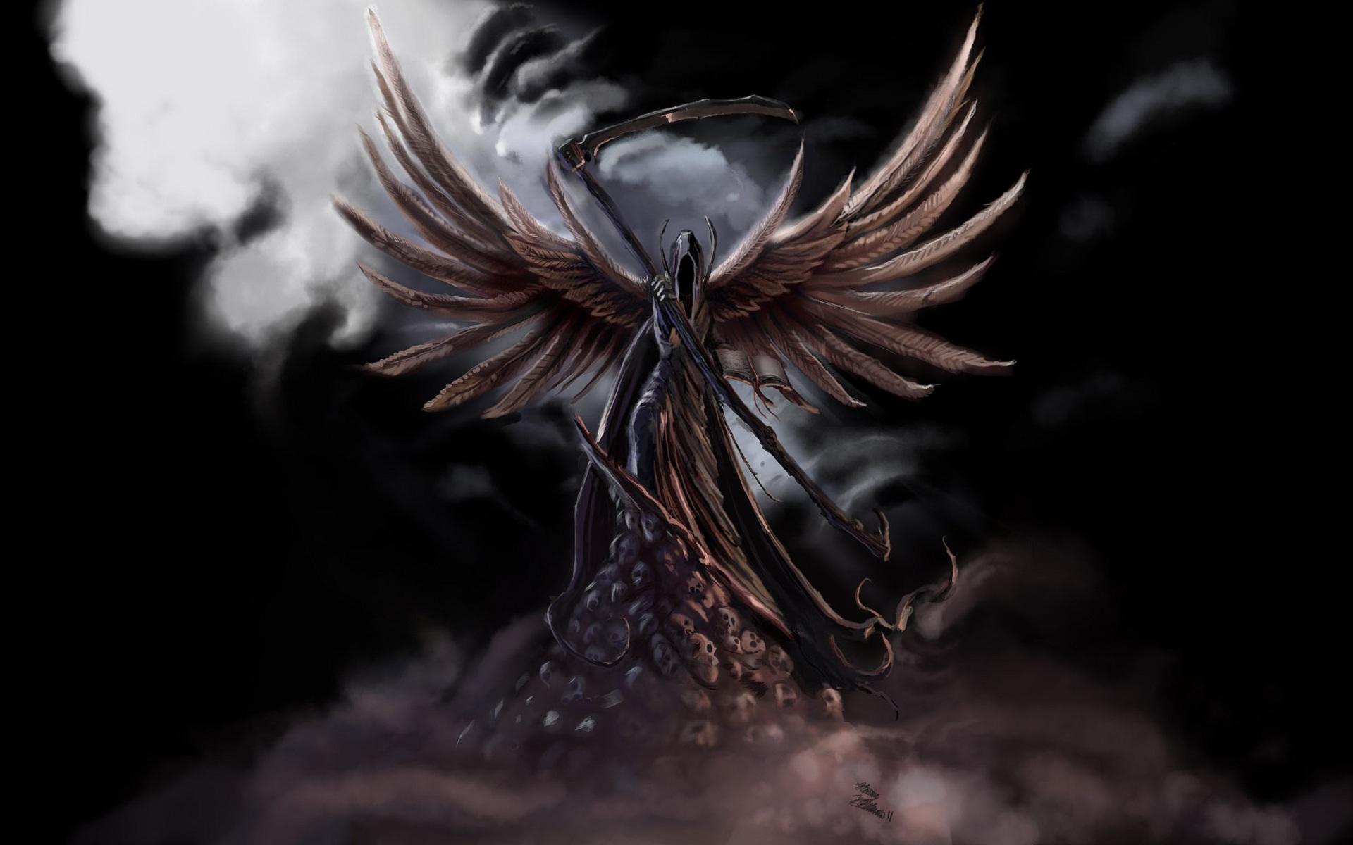 Drawn grim reaper angel wing With Wings creepy wallpaper wings