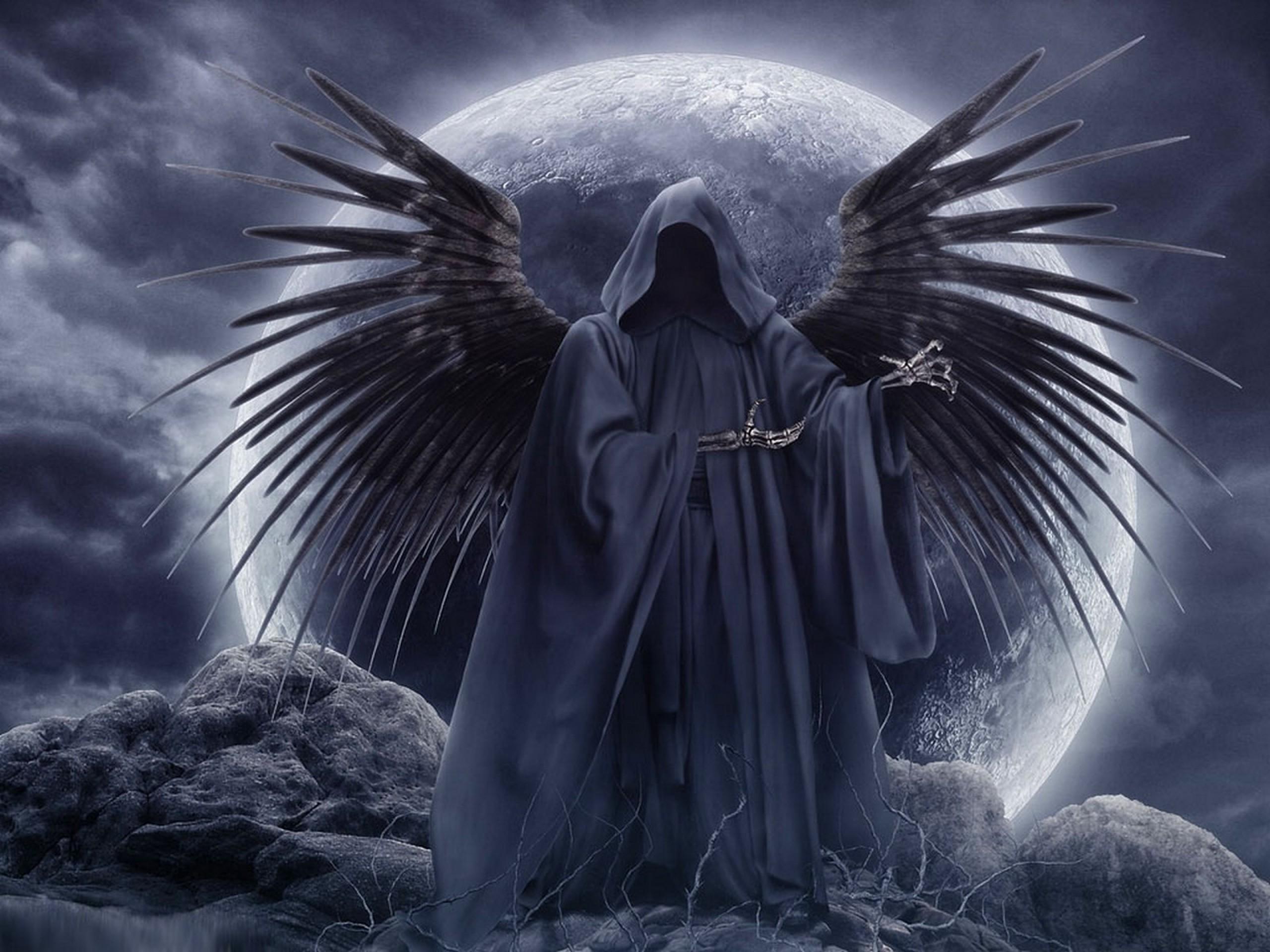 Drawn grim reaper angel wing Skyscapes ideas Best wings moon